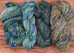 4 blue skeins