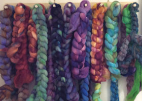 dyed braids in studio